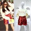 Fashion Women 2 Piece Set 2016 Autumn Beige Sweatshirts+wine Red Leather Shorts Casual Sets High-quality Twinset Women Clothing