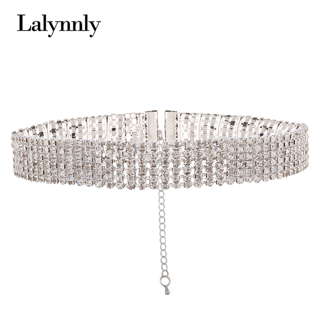Lalynnly Fashion Crystal Choker Necklace for Women Wedding Stretch Rhinestone Statement Necklace Accessories Jewelry N51701 2