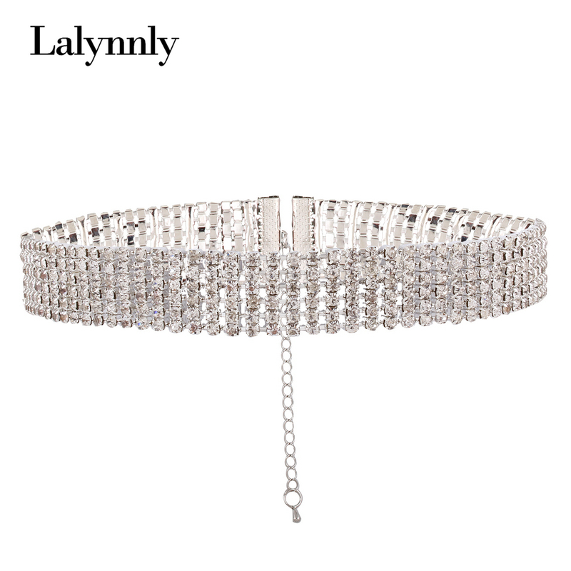 Lalynnly Fashion Crystal Choker Necklace for Women Wedding Stretch Rhinestone Statement Necklace Accessories Jewelry N51701