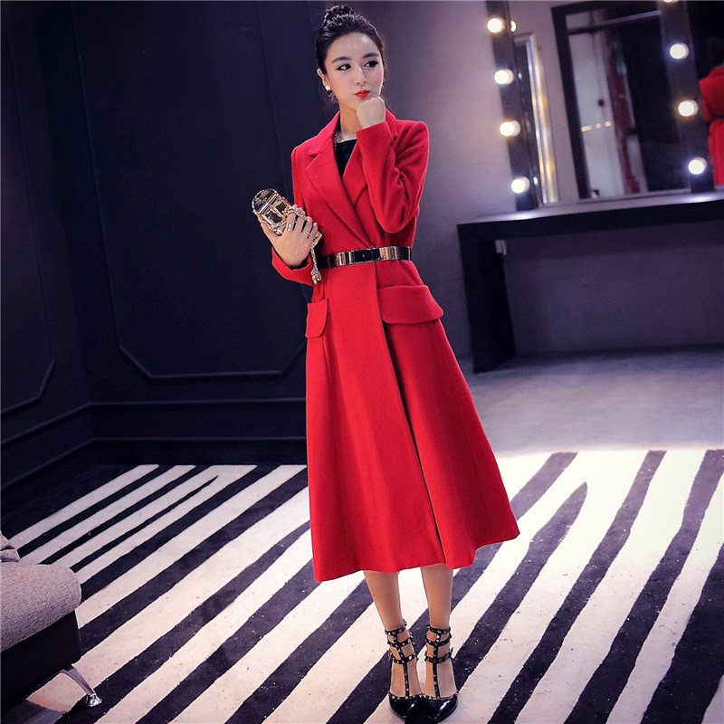 Red Woolen Coat 2018 Winter Coat Women Elegant Long Wool Jacket Women Manteau Femme Vogue Woolen Overcoat Parka Maxi Coats C3591