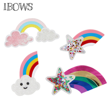 IBOWS Liquid Quicksand Patches Cute Rainbow Sequins Filled for DIY Phone Case Hair Bow Accessories Decoration Handmade Crafts