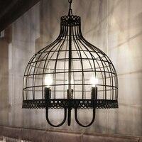 Loft industrial do vintage retro gaiola de pássaro pingente lâmpada edison luz e27 titular ferro restaurante balcão barra sótão lâmpada livraria|Luzes de pendentes| |  -