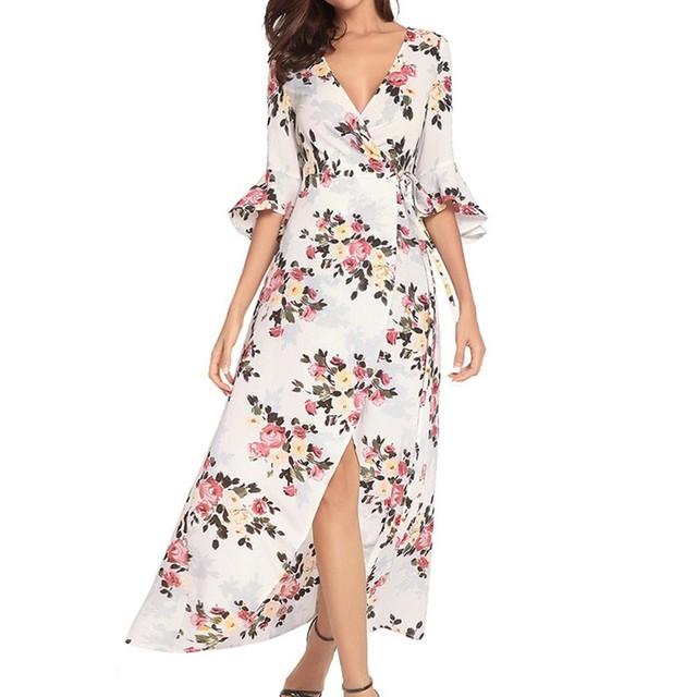 Gumpurn Summer Beach Long Dress Bohemia Style V-Neck Dress For Women Printing Plus Size 2XL Summer Dress