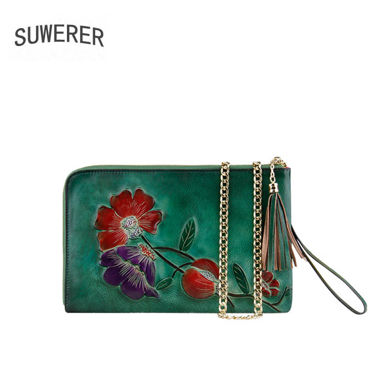 SUWERER 2018 New women genuine leather bag famous brand Handmade Embossing leather art bags fashion Luxury cowhide clutch bags suwerer women genuine leather bags 2018 new fashion handmade drawing plum flower top cowhide luxury designer women leather bags