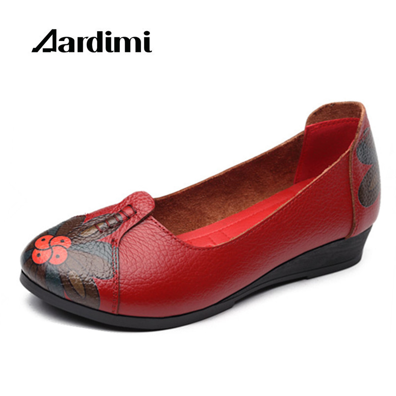 New arrival vintage autumn women flats shoes 3 colors genuine leather casual shoes women round toe flat with women's loafers new arrival women s casual shoes graffiti leopard print 3 colors canvas shoes soft loafer women flat shoes hse16