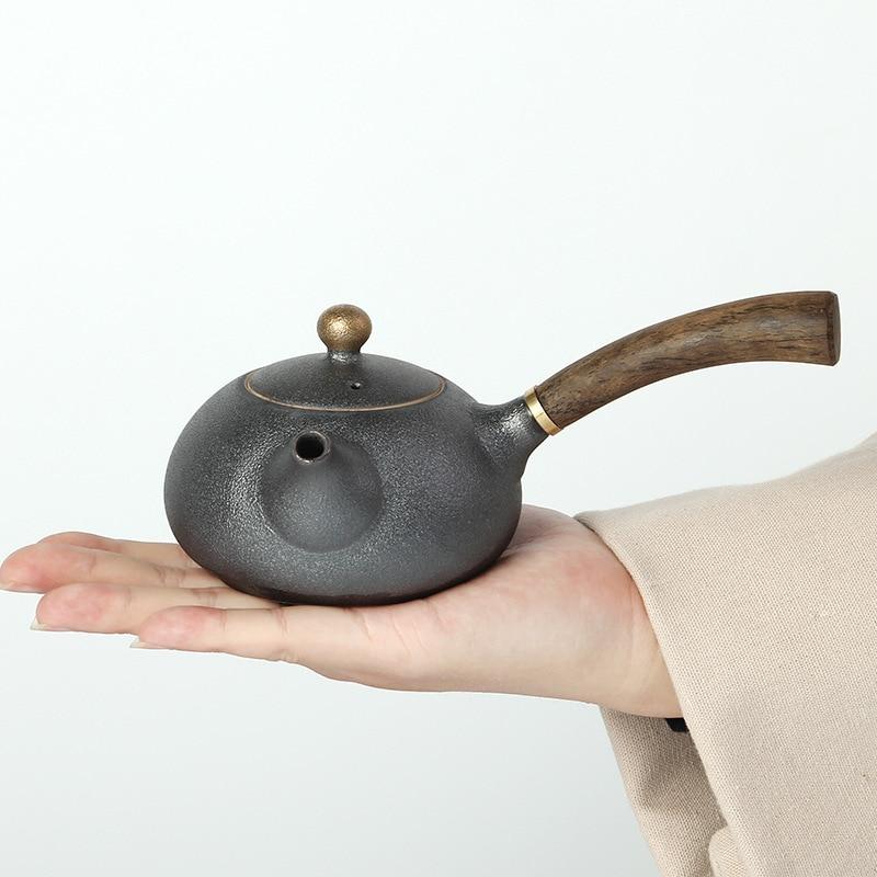 Image 2 - PINNY New Design Japanese Style Teapots Ceramic Wood Handle Kung Fu Tea Sets Porcelain Ceramic Kettle Vintage Tea Serviceservice teaservice setservice porcelaine -