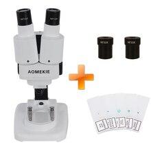 AOMEKIE 20X/40X Binoculaire Stéréo Microscope Top Éclairage LED PCB Solder Spécimen Montre Enfants L'enseignement des Sciences avec Diapositives