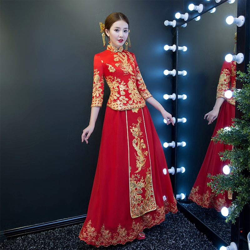 Traditional Chinese Style Wedding Dress Noble Women Marriage Red Qipao Classic Phoenix&Flower Cheongsam Tosast Clothing 3XL