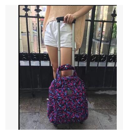 여자 여행 트롤리 가방 여자 여행 수하물 트롤리 배낭 가방 바퀴 옥스포드 롤링 바퀴 달린 가방 배낭 가방-에서여행 가방부터 수화물 & 가방 의  그룹 3