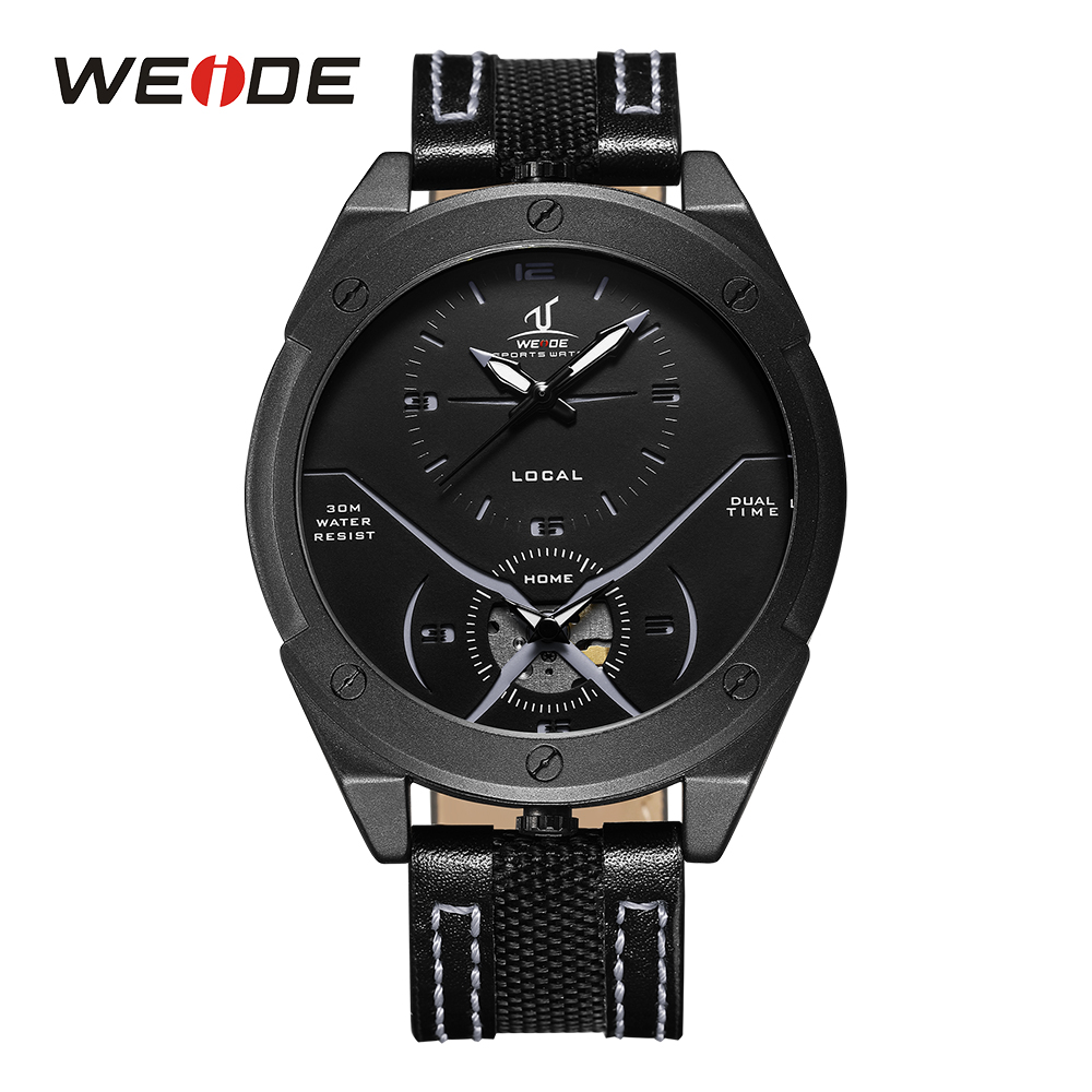 WEIDE Men's Casual Analog Display Dual Quartz Watch Black Leather Strap Band Steel Buckle Man Sport Wristwatch Relogio Masculino goblin shark sport watch 3d logo dual movement waterproof full black analog silicone strap fashion men casual wristwatch sh165