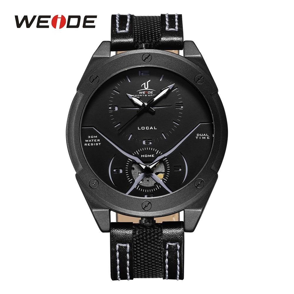 все цены на WEIDE Men's Casual Analog Display Dual Quartz Watch Leather Strap Band Man Sport Wristwatch Relogio Masculino montre homme sport