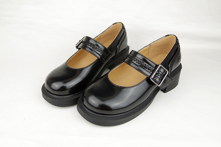 Japanese School Students Uniform Shoes Uwabaki JK Round Toe Buckle Trap Women Girls Lolita Retro Cosplay Med Heels L5