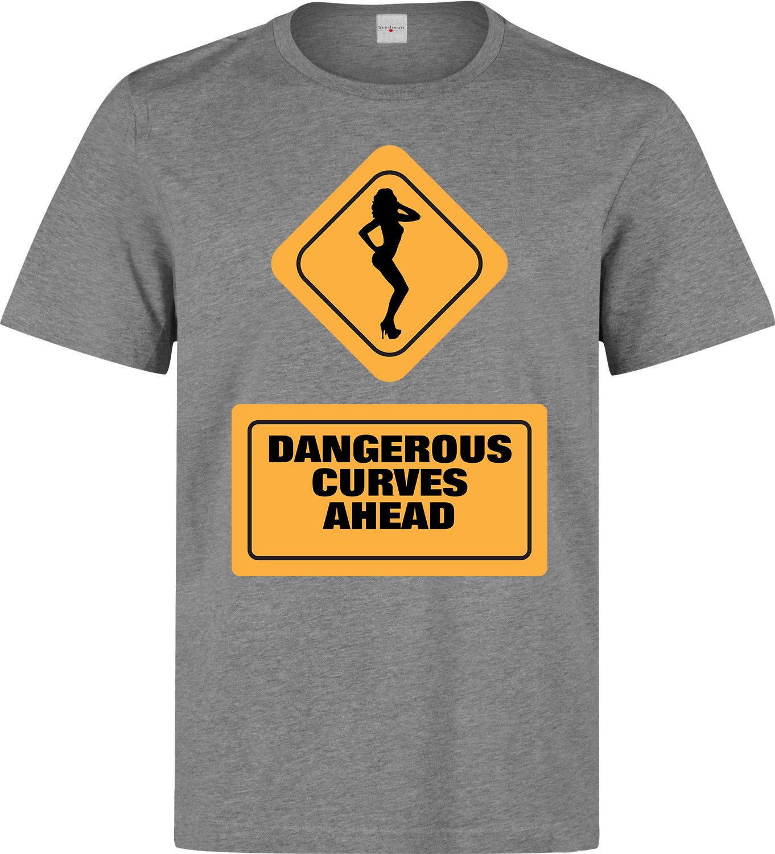 Предупреждение знак опасных впереди кривые забавные Для мужчин (Женская доступны) серая футболка Новинка Прохладный Топы корректирующие Д...