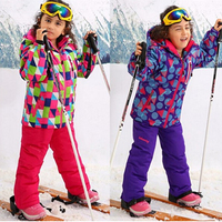 Russia 30 Degree Children winter clothes set windproof jackets+pant kids winter snow suits girls outdoor warm ski suit 4 15T