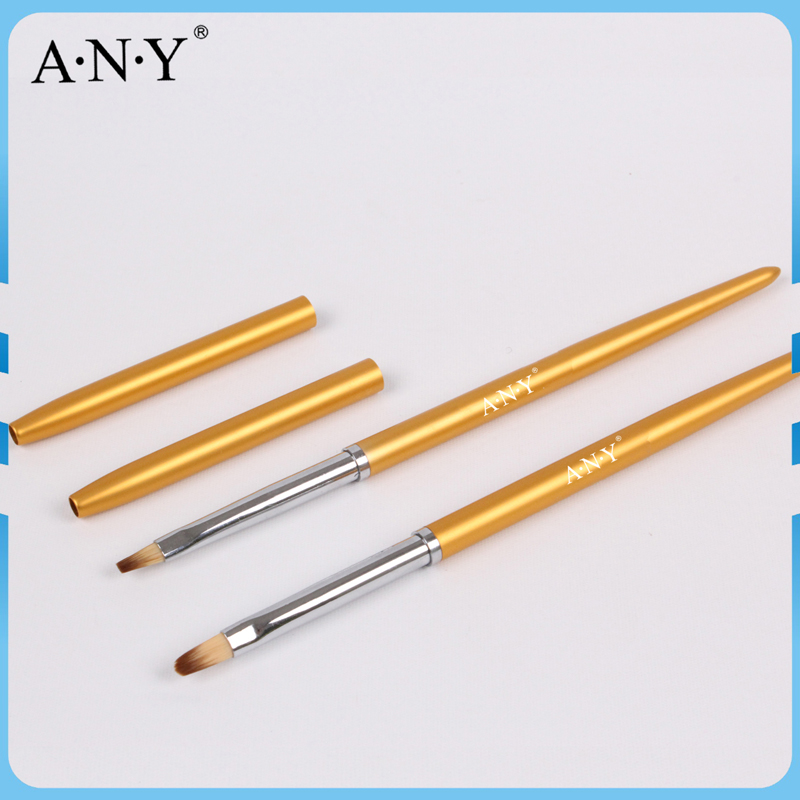 Free Shipping ANGNYA Good Quality Golden Metal Handle UV Gel Nail Brush Oval 4# Single Piece A027