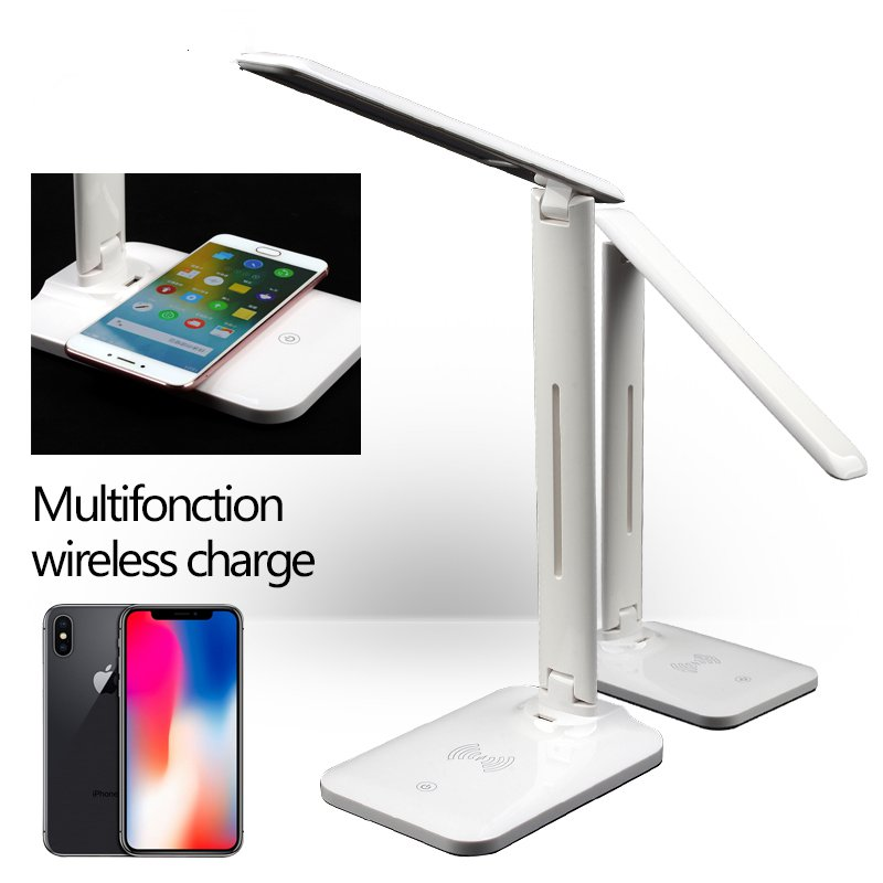 Youbina Eye Protection Adjustable LED Table Lamp Desk Lamp Qi Wireless Charger Foldable Mobile Phone USB Charging