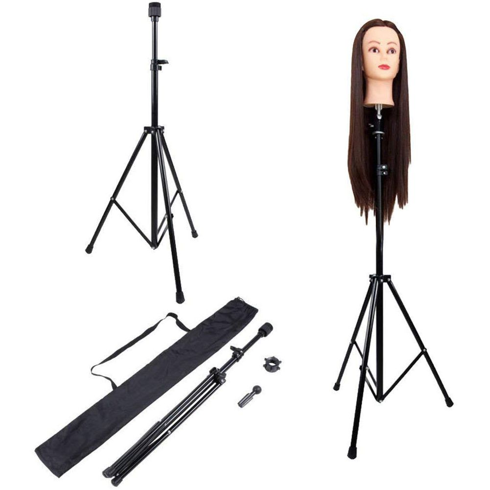 Image 2 - Adjustable Tripod Stand Holder Mannequin Head Tripod Hairdressing Training Head Holder Hair Wig Stand Tool-in Wig Stands from Hair Extensions & Wigs