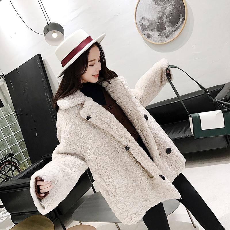 Mode Vêtements Fourrure Femmes Réel Épais Naturelle Manteau Des Tonte Bonne Moutons Femme 90103b Beige Npi Conception Hiver De Grey Qualité Chaud SBBWF8cZn