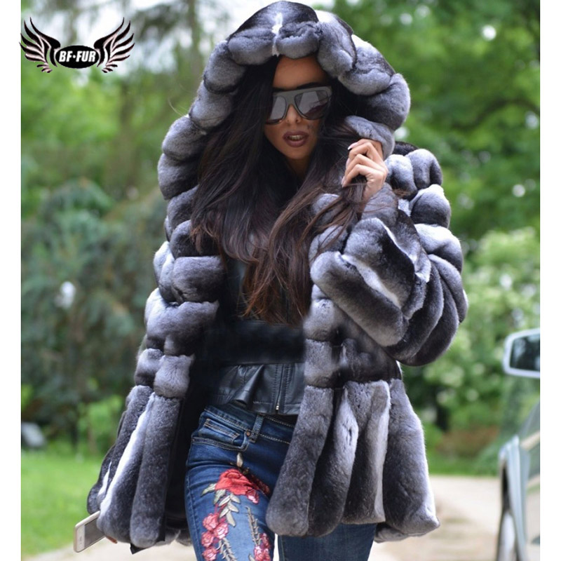 BFFUR Real Fur Coat Rex Rabbit Whole Skin Real Fur Coats For Women Winter Sale Fashion Warm Streetwear With Fur Hood Chinchilla