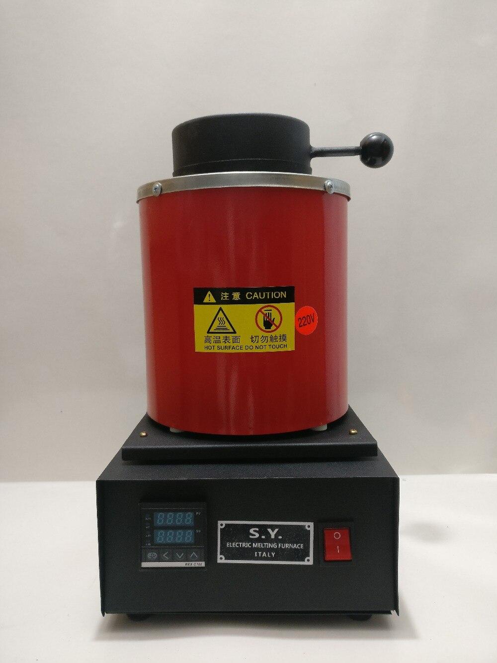 220 v 1 ~ 2 kg or four de fusion, fonderie électrique avec 1 creuset et tong, affichage numérique Électrique de Fusion Mini Four