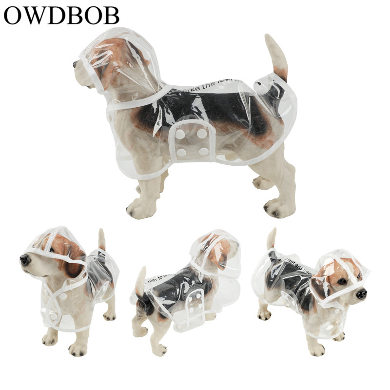 OWDBOB 1pc Waterproof Dog Raincoat with Hood Transparent font b Pet b font Dog Puppy Rain