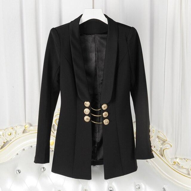 แฟชั่นใหม่ล่าสุดที่มีคุณภาพสูง2017ออกแบบเสื้อของผู้หญิงแขนยาวปุ่มทองโซ่เสื้อแจ็คเก็ต