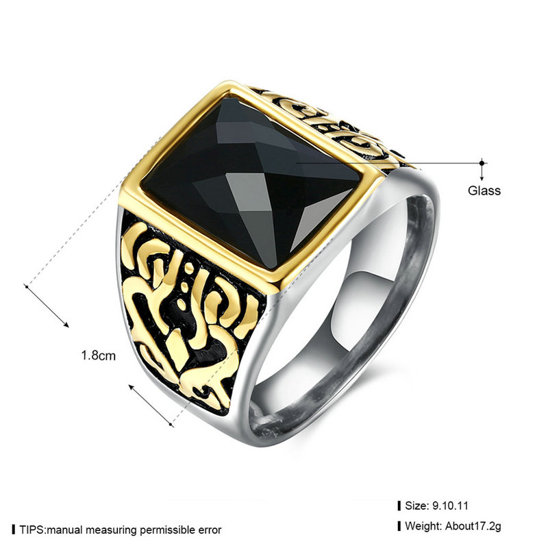 Jenia Black Stone Men Wedding Ring for Engagement Party Jewelry