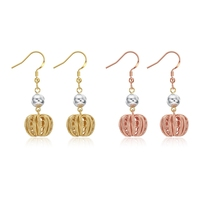 ZE215 New Arrival Fashion Rose Yellow Gold Color Crystal Pumpkin Dangle Earring Hot Female Women Chunky Jewelry Designer Item