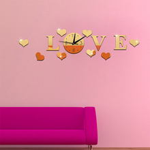3D Acrylic Love Love Mirror Wall Clock Home Bedroom Living Room Hotel Fashion Green Decorative Wall Clock