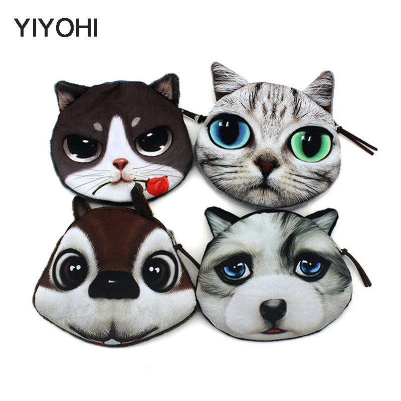 YIYOHI New High Quality Coin Purse Wallet Ladies 3D Printing Cats Dogs Animals Change Fashion Cute Small Zipper Bag For Women striped travelling carrying bag for cats small