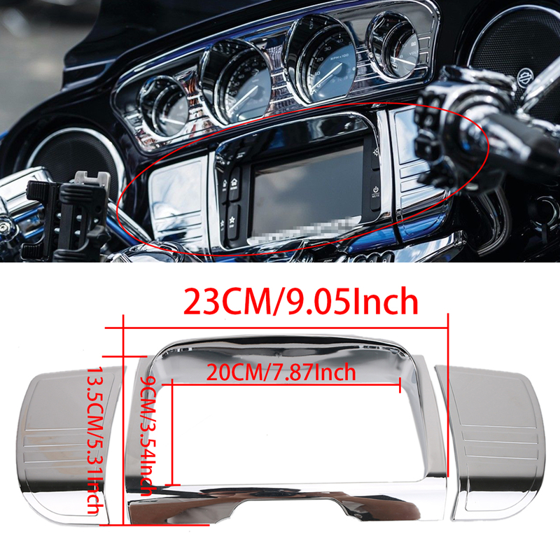 Deluxe Chrome Tri Line Stereo Trim Cover for Harley Davidson Touring Electra Street Tri Glide Ultra FLHX FLHT 2014-2017 #MBT002 aftermarket cnc air cleaner cover trim for harley davidson fld dyna switchback flhr road king electra glide classic xl 1200c spo