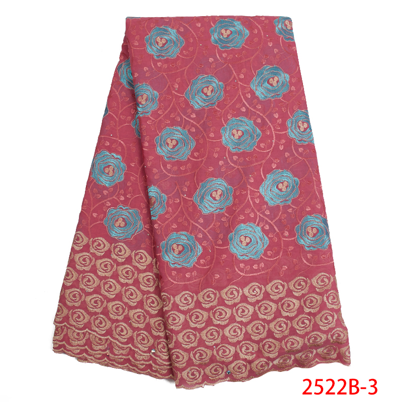 Hot Sale Swiss Voile Lace Fabric High Quality African Emboridered Cotton With Stones Swiss Voile Lace Switzerland KS2522B-3