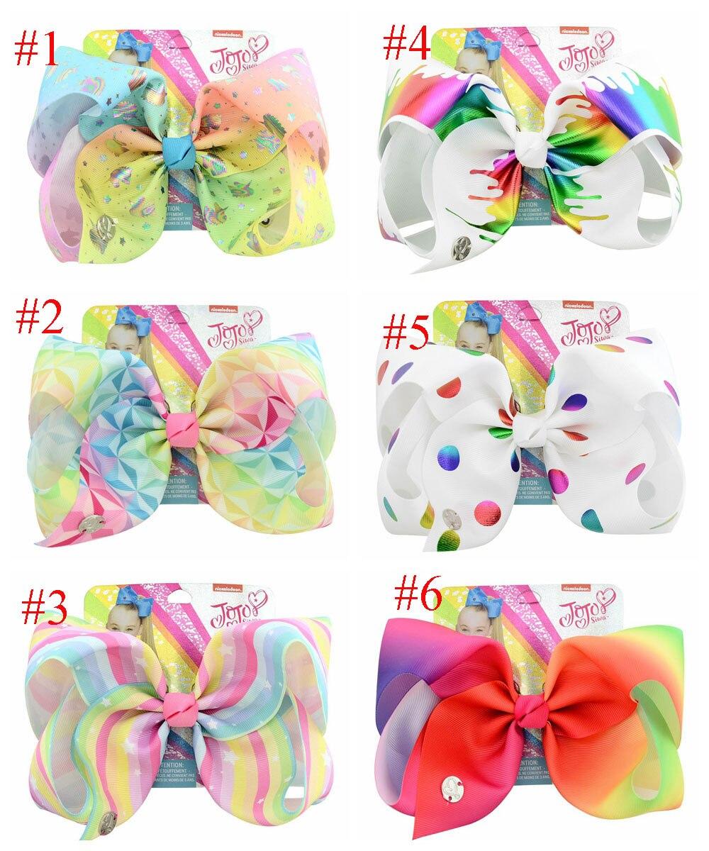 MengNa 1PC 8 JoJo Bows Large Rainbow Unicorn Bow-knot Print Grosgrain Ribbon Hair Bows With Clip Kids Handmade Hair Accessory