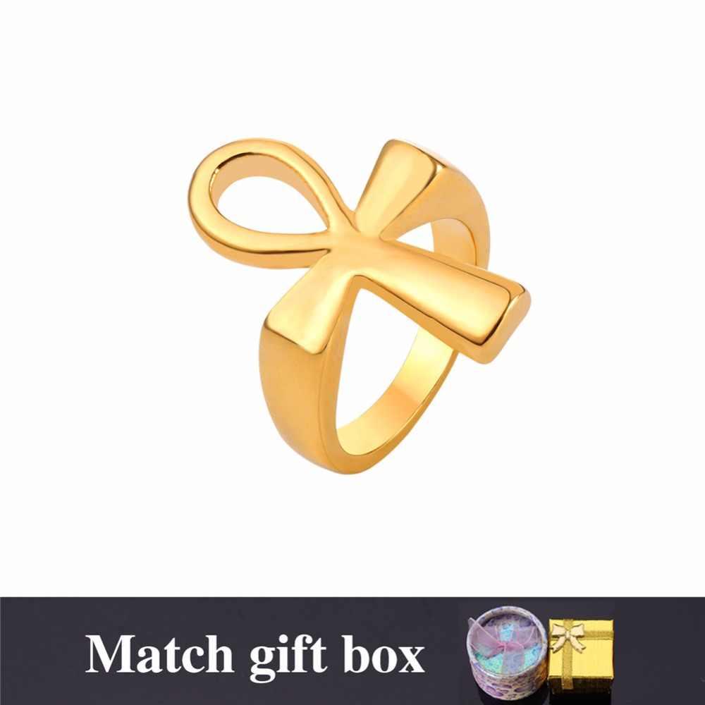 Starlord кольцо с анхом Ansata Крест ключ Нил никогда не выцветает кольцо из нержавеющей стали для мужчин/женщин Египетские украшения GR2590
