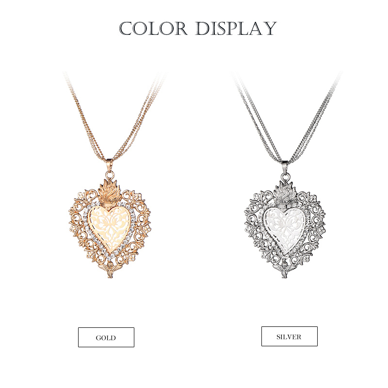 HTB1JzVSccjI8KJjSsppq6xbyVXan - New Gold Flower Heart Angle Glory Pendant Necklace Crystal Long Sweater Collar Women Vintage Jewelry dropshipping Best Gift