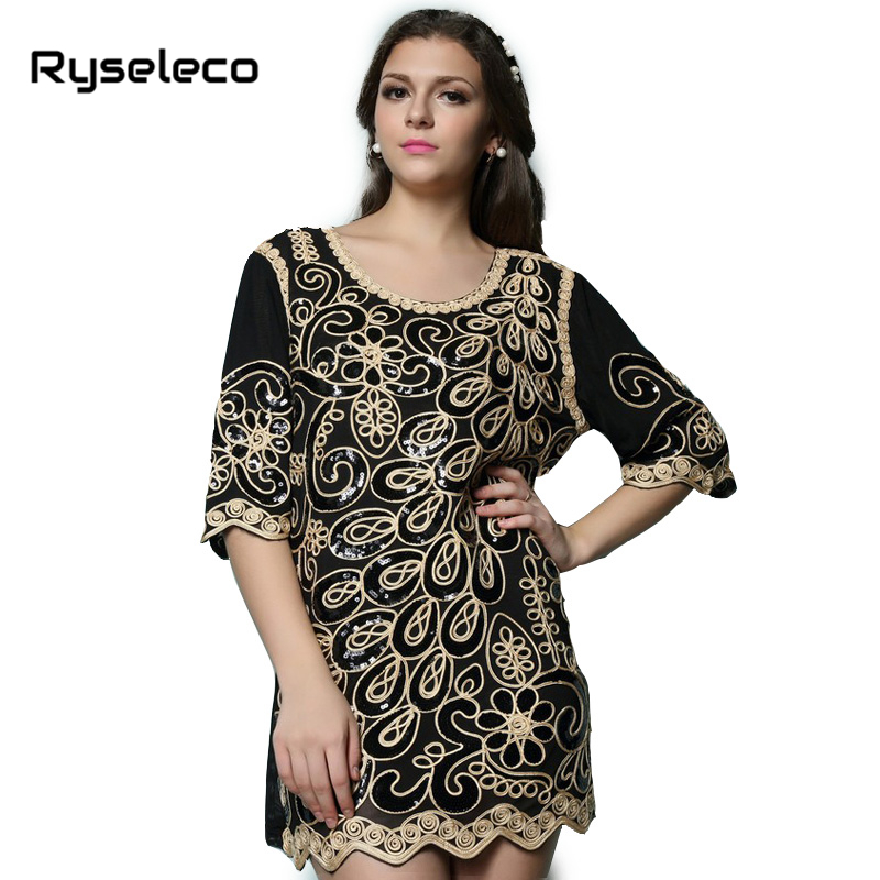 Buy Cheap Hot Female Women 2016 Spring Style Brand New Fashion Loose Ultra Large Black Geometric Embroidery Sequined Mesh Short Dresses
