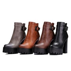 Image 5 - 2019 women super high heels boots  dress shoes woman platform spring autumn ankle boots woman large size 41 42