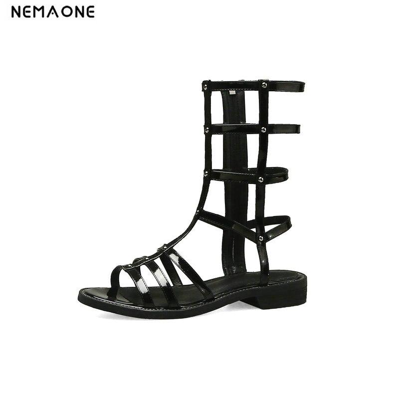 De Zapatos Estilo Roma Mujer Tacón Cuadrado Para Sandalias Bajo Sexy Nemaone Damas xQtshCdBr