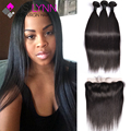 Straight Indian Virgin Hair Lace Frontal Closure With Bundles mslynn Hair 3 Bundles With Closure,Indian Virgin Hair With Closure