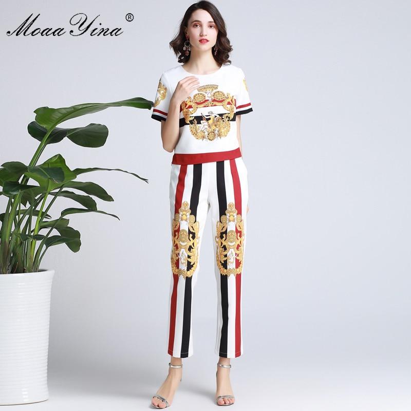 MoaaYina Fashion Designer Set Spring Summer Women Short sleeve Vintage Print Beading Shirt Tops Stripe Trousers