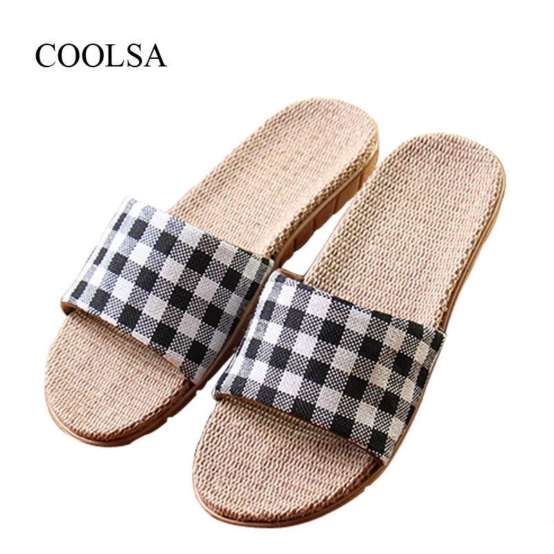 COOLSA Men's New Arrival Spring Gingham Linen Slippers Flat Fabric Eva Non-Slip Slides Linen Sandals Home Slippers Flip Flops coolsa men s non slip linen slippers zapatos hombre eva soles canvas cotton fabric vamp slippers men s slides fashion flip flops