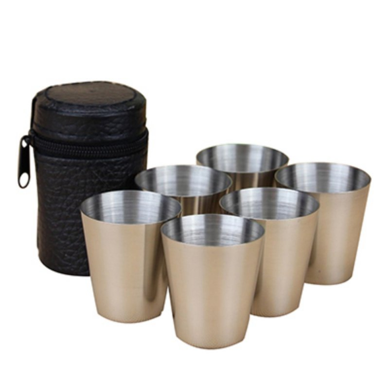 6Pcs/4pcs Set 30ml Outdoor Practical Stainless Steel Cups Shots Set Mini Glasses For Whisky Wine Portable Drinkware Set