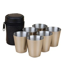 6 Unids / 4 unids Set 30 ml Al Aire Libre Práctico de Acero Inoxidable Copas Disparos Set Mini Gafas Para Whisky Vino Portable Drinkware Set