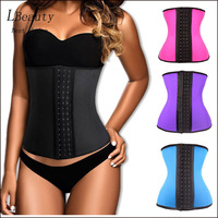 Big Discount 9 Steel Boned Corset Latex Waist Trainer Waist Training Corsets For Women Latex Waist