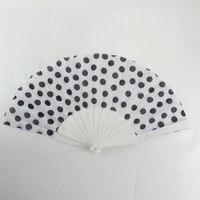 2017 Silk Hand Held Fan Bamboo Folding Fan White Black Dot Pattern Printing Hand Made Wedding