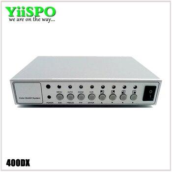 Juego de vídeo en Color Digital yispo 4CH, divisor de Color de cuatro canales, procesador CCTV, caja de Metal con adaptador BNC de 4 pulgadas y 2 salidas