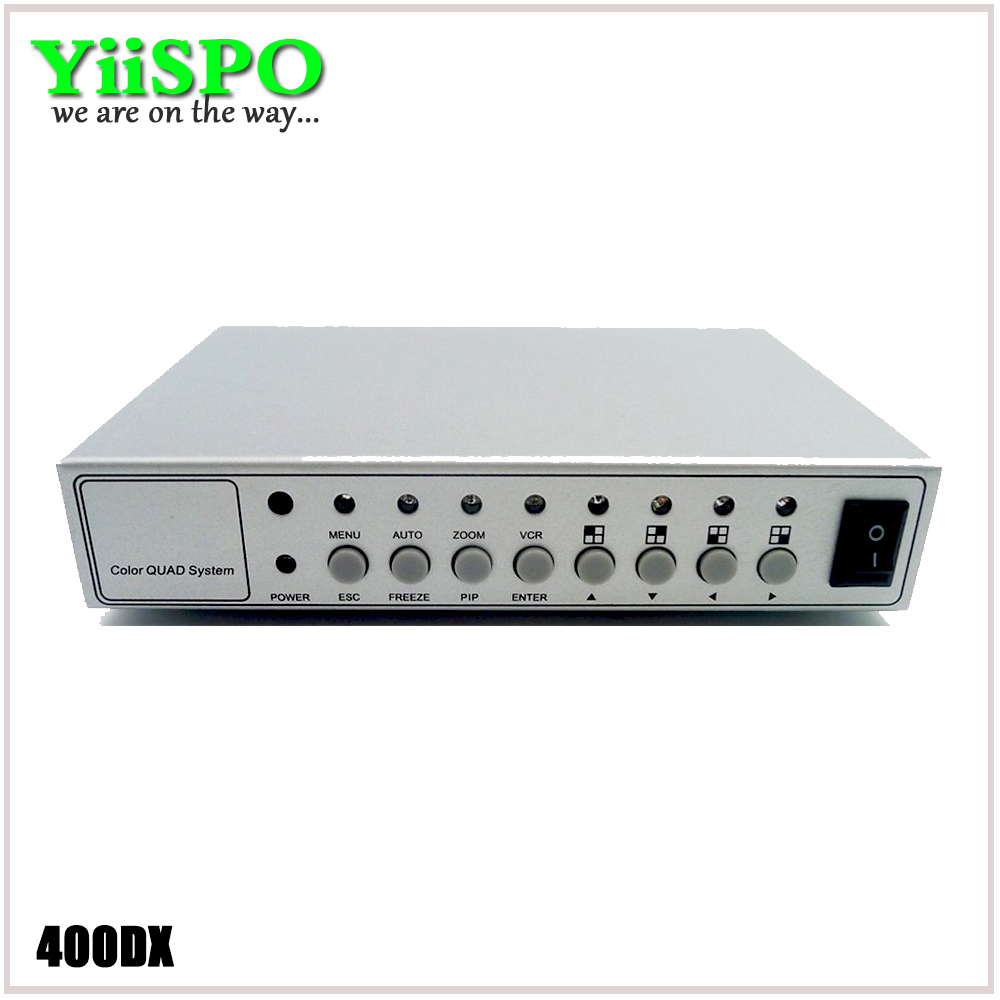 YiiSPO 4CH Color Video Digital Color Quad Splitter Processor CCTV System Kit Switcher Metal Case With 4in 2out BNC Adapter