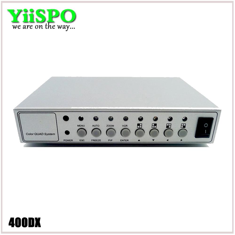 YiiSPO 4CH couleur vidéo numérique couleur Quad séparateur processeur système de vidéosurveillance Kit commutateur boîtier en métal avec adaptateur 4in 2out BNC