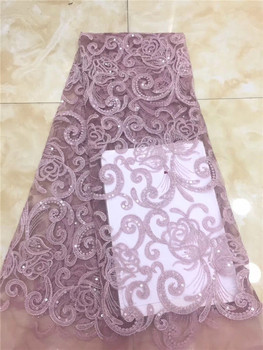 Pink 2019 Latest Style French Net Lace Fabric With Beads sequins Appliqued Lace Fabric High Quality Nigerian Lace Fabric (XZS-4