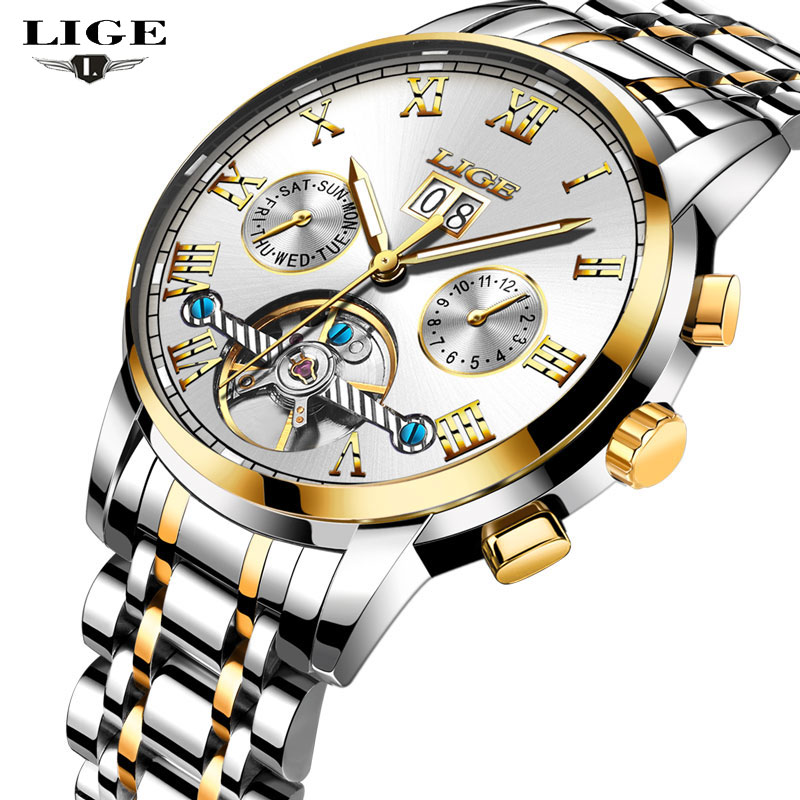 <font><b>LIGE</b></font> NEW Men Watches Top Brand Luxury Men's Mechanical Watch Man Full Steel Multifunction Fashion Sports Clock Relogio Masculino image